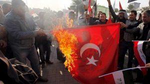 آتش زدن پرچم ترکیه توسط هواداران جمهوری اسلامی ایران