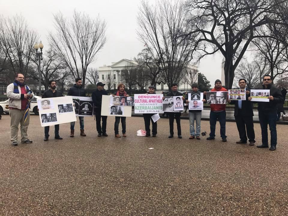 دومین تحصن فعالین ملی مقابل کاخ سفید در حمایت از مرتضی مرادپور و زندانیان سیاسی آزربایجانی