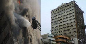 ساختمان ۱۷ طبقه تولیدی و تجاری پلاسکو تهران بر اثر آتش سوزی فرو ریخت +...