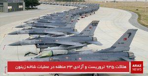 هلاکت ۹۳۵ تروریست و آزادی ۳۳ منطقه در عملیات شاخه زیتون
