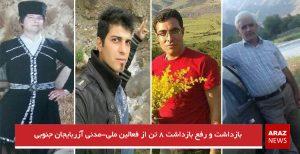 بازداشت و رفع بازداشت ۸ تن از فعالین ملی-مدنی آزربایجان جنوبی