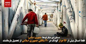 فقط امسال بیش از ۹۶ هزار کودک در ۴۰ سالگی جمهوری اسلامی از تحصیل بازماندند