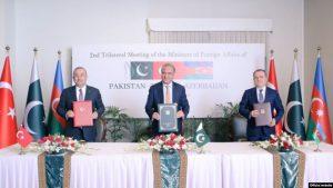 امضای توافقنامه سه جانبه آذربایجان، ترکیه و پاکستان در اسلام آباد
