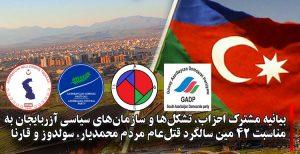 بیانیه مشترک احزاب، تشکلها و سازمانهای سیاسی آزربایجان به مناسبت ۴۲ مین سالگرد قتلعام مردم...