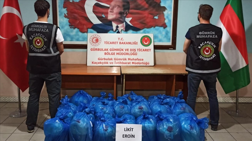 پلیس ترکیه از یک تریلی ایرانی نزدیک به نیم تن هروئین کشف کرد